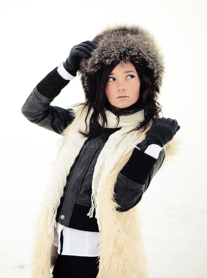 Download Girl In A Fur Coat, Hat And Gloves Stock Photo - Image: 17806392