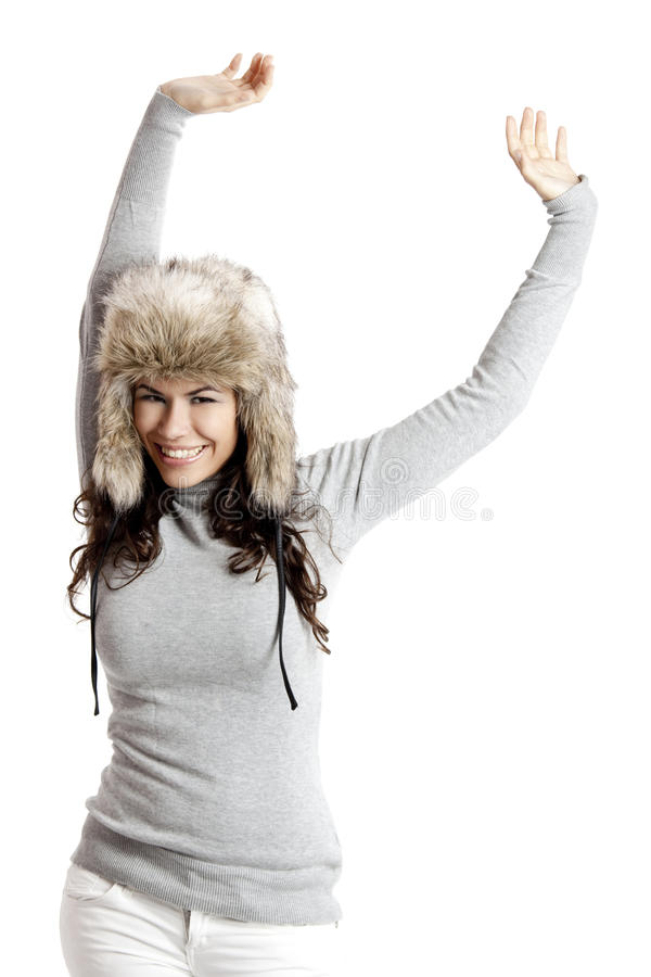 Download Girl with a fur hat stock image. Image of portrait, gorgeous - 15411539