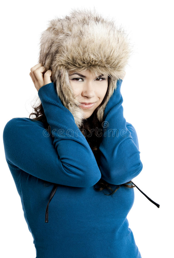 Download Girl with a fur hat stock photo. Image of background - 15872106