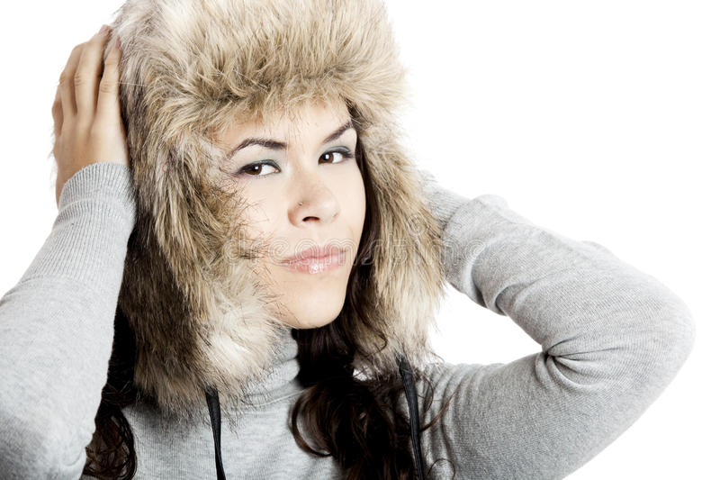 Download Girl with a fur hat stock image. Image of glamour, smile - 15872113