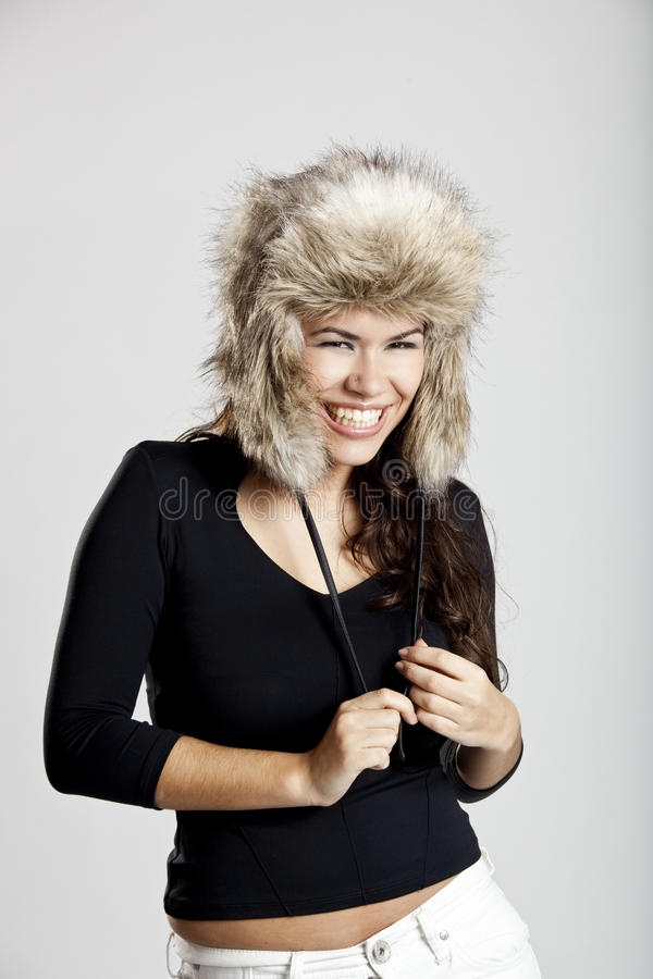 Download Girl with a fur hat stock photo. Image of head, beauty - 15872114