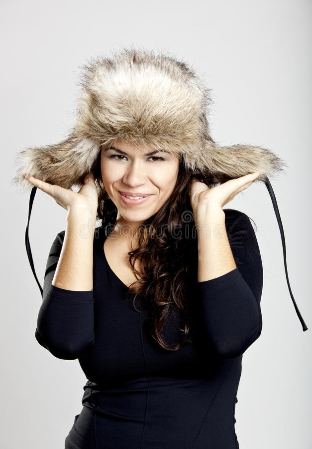 Download Girl with a fur hat stock image. Image of smile, friendly - 16133599