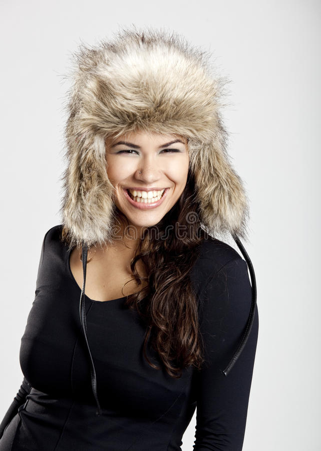 Girl With A Fur Hat Stock Photography