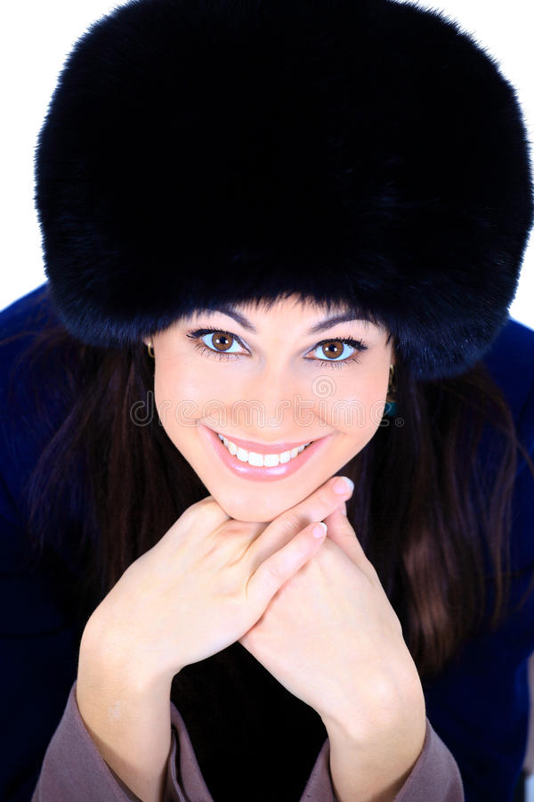 Download Girl in a fur hat stock photo. Image of face, glamour - 22746362