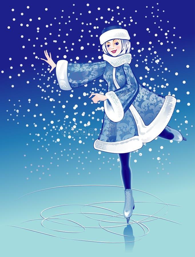 Download Girl In Fur Suit On Skating Rink Stock Vector - Illustration: 11798827