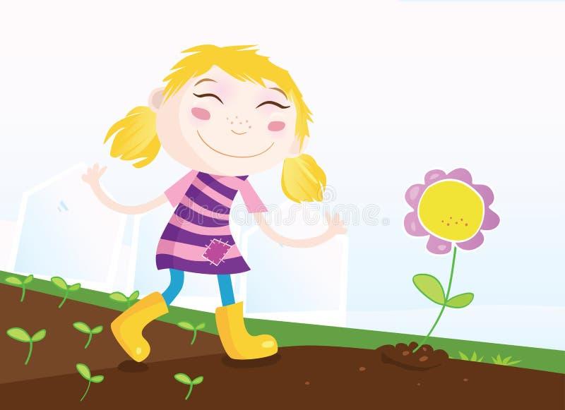 Girl in Garden stock illustration