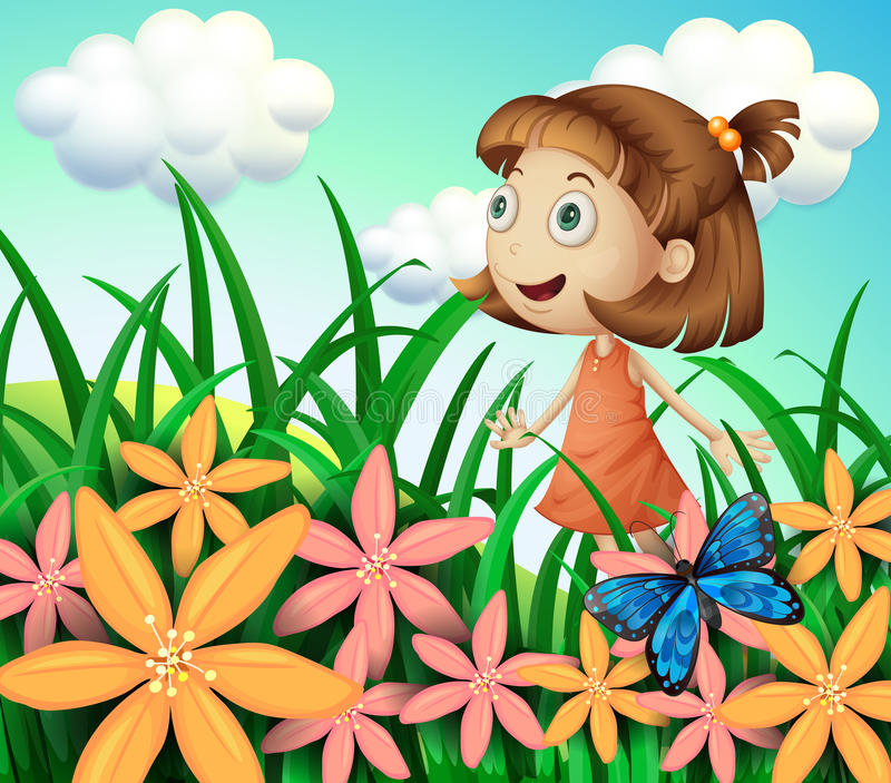 A girl at the garden with butterfly and flowers royalty free illustration