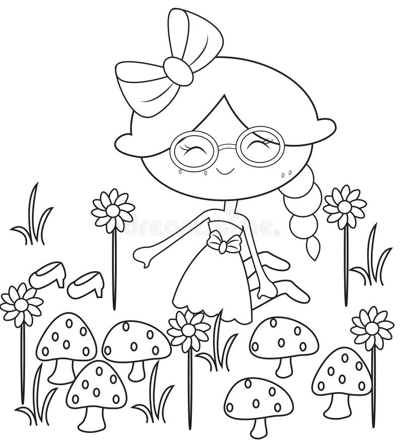 Girl In The Garden Coloring Page Stock Illustration - Illustration ...