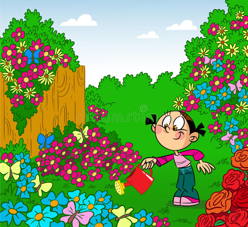 Delightful Download Girl In The Garden Stock Image. Image Of Flowers, Beautiful    40321513