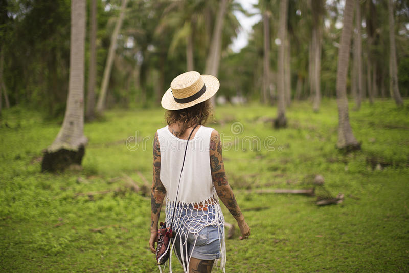 Girl in garden royalty free stock photo