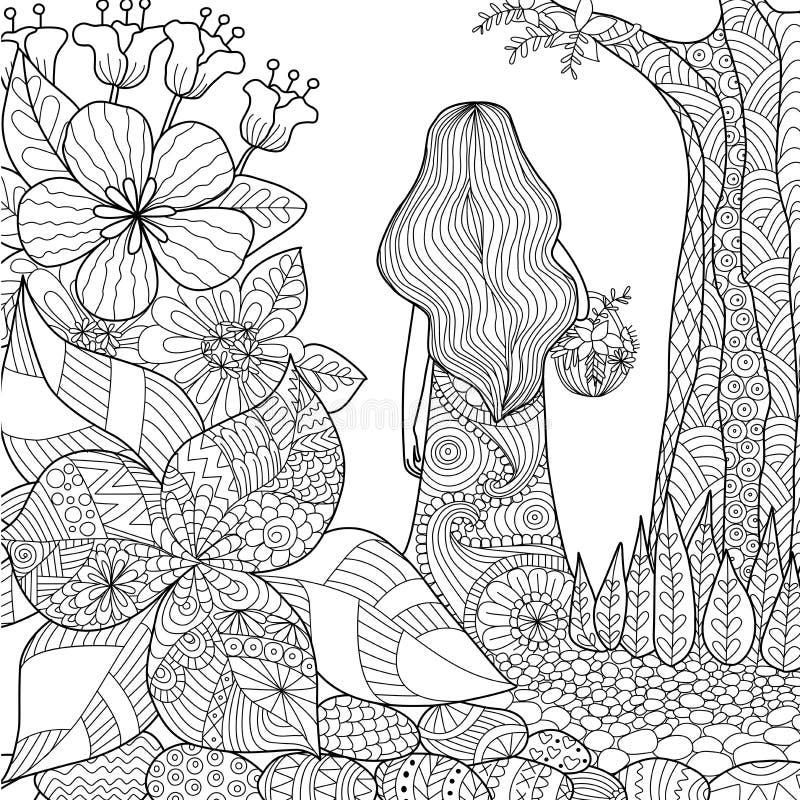 Girl in the garden vector illustration