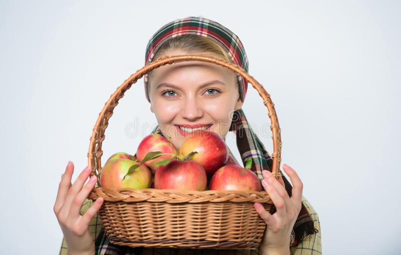 Girl gardener rustic style hold apple white background. Health care and vitamin nutrition. Perfect apple. Grocery store. Start apple diet. Woman likes natural stock image
