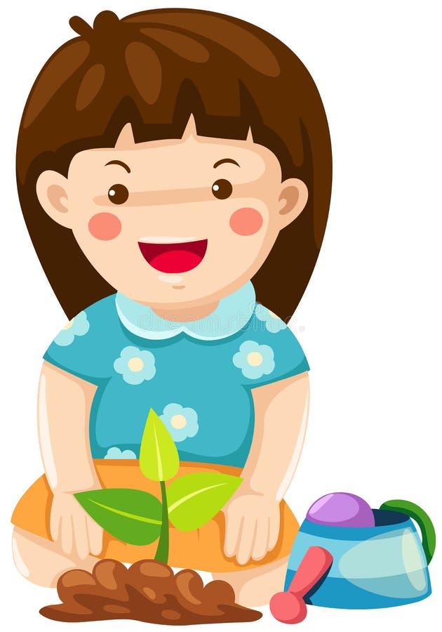 Download Girl gardening stock vector. Illustration of little, growing - 20929427