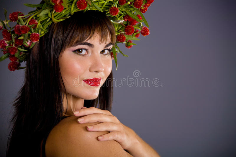 Download Girl with garland stock image. Image of happy, lips, care - 16079899