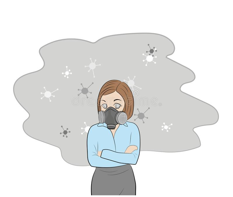 Girl in a gas mask. allergy to dust and pollen. vector illustration. vector illustration
