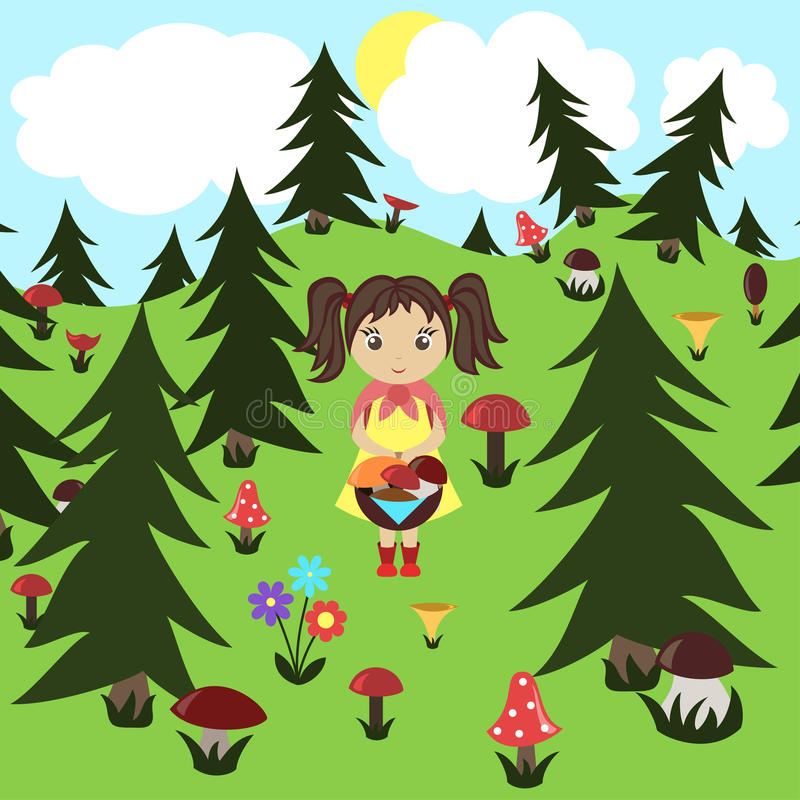 Girl gathers mushrooms in the wood. Vector royalty free illustration
