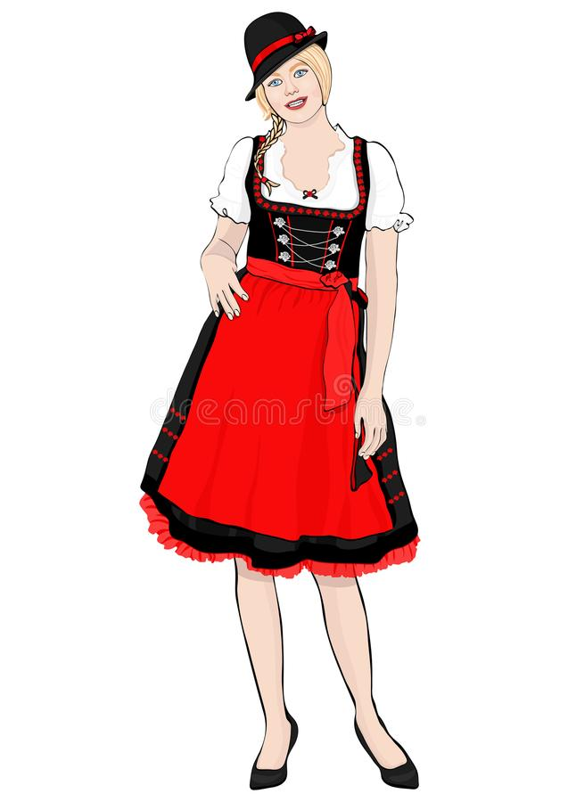 Girl in German national costume standing front side, vector vector illustration
