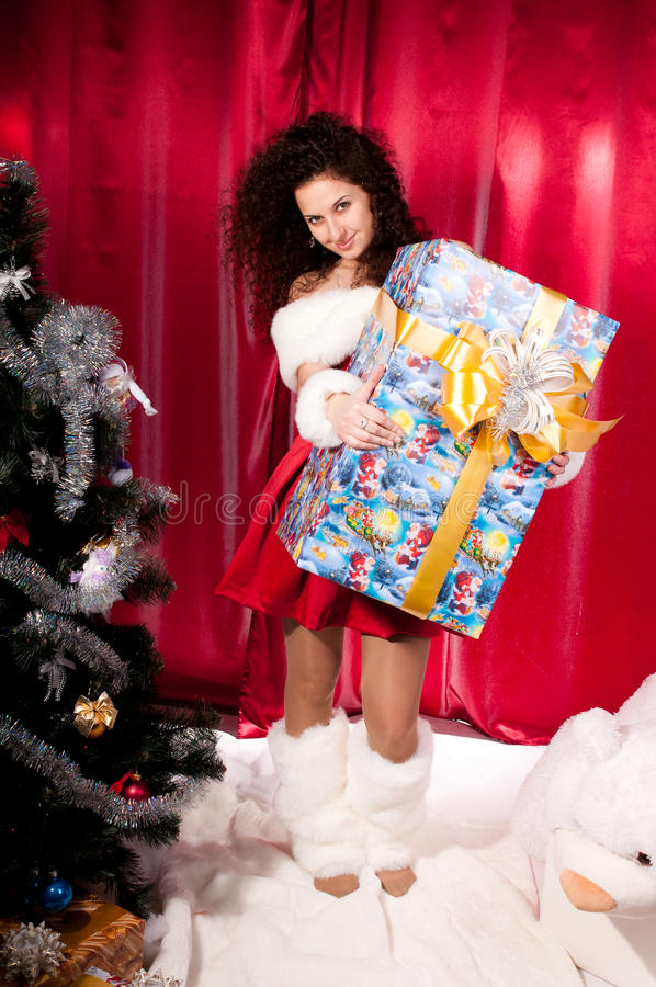 Download Girl Gets A Christmas Present Stock Image - Image: 25527303
