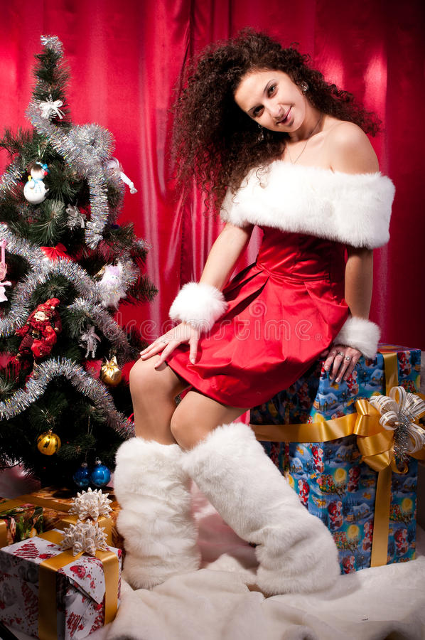 Download Girl Gets A Christmas Present Stock Image - Image: 25527363