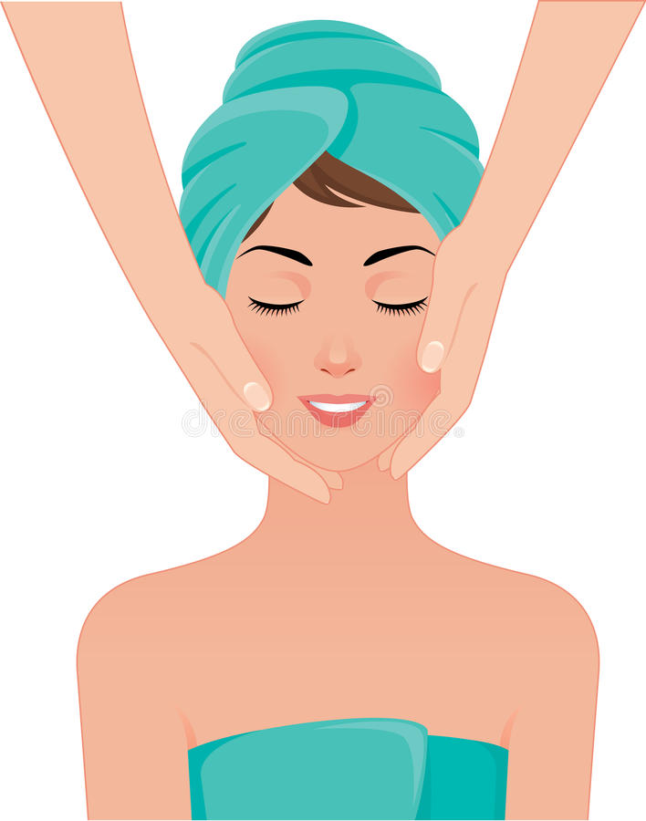 Girl gets a face massage in spa salon stock illustration