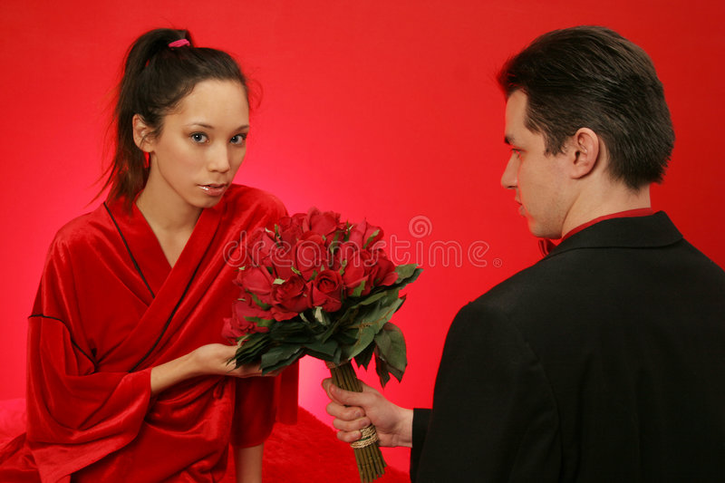 Girl gets roses royalty free stock image