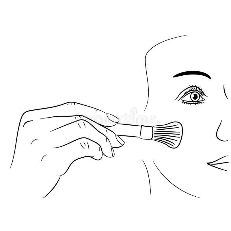 Girl gets rouge brush on white of vector illustrations stock illustration