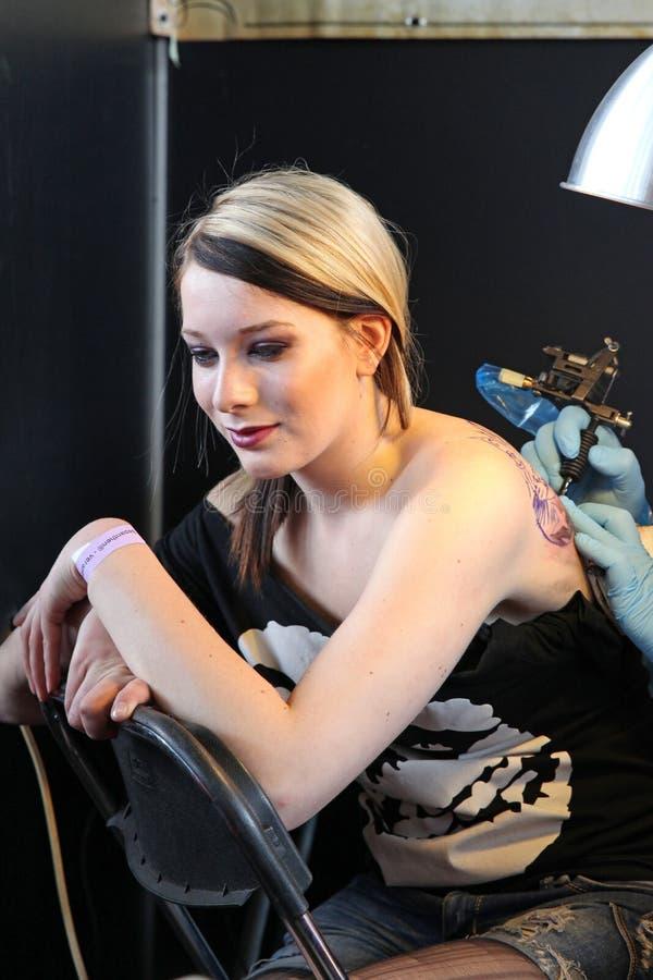 Girl Getting A Tattoo, At A Tattoo Studio Editorial Photo ...