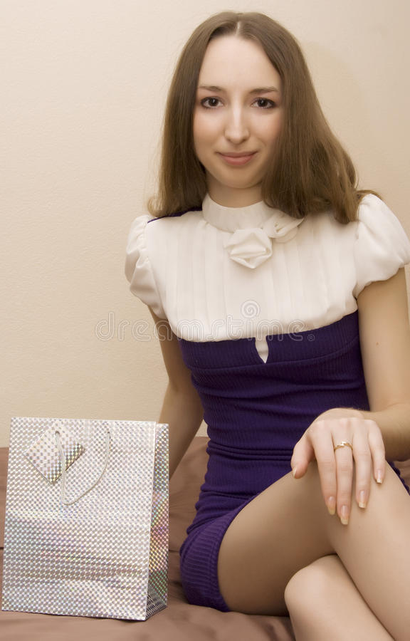 girl with a gift royalty free stock image