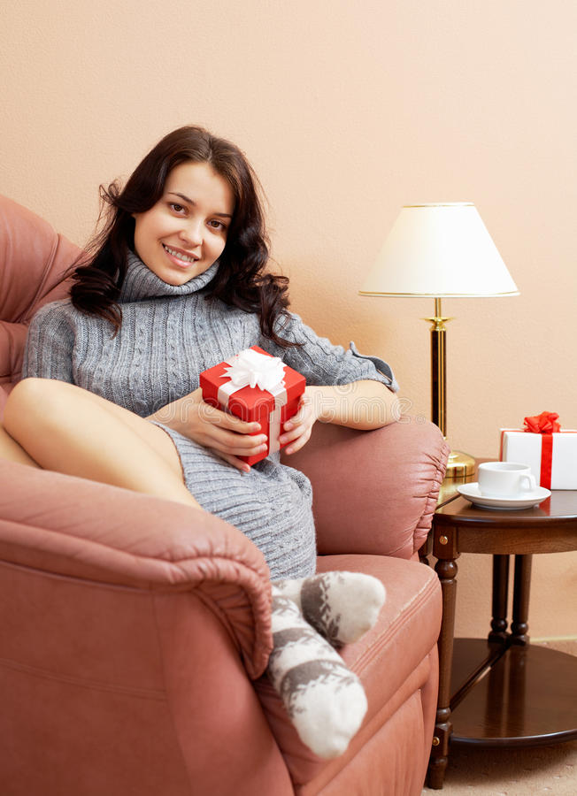 Download Girl with gift stock photo. Image of lady, gift, comfort - 17463068