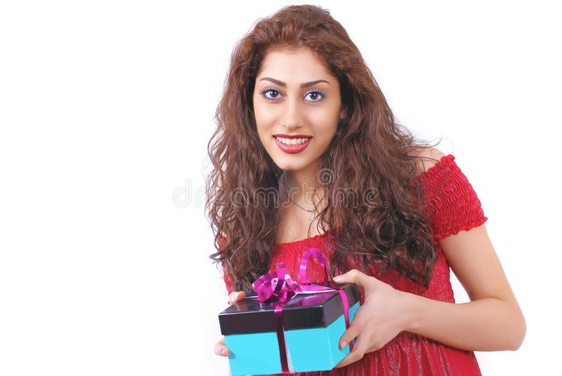 Girl With Gift Royalty Free Stock Photography