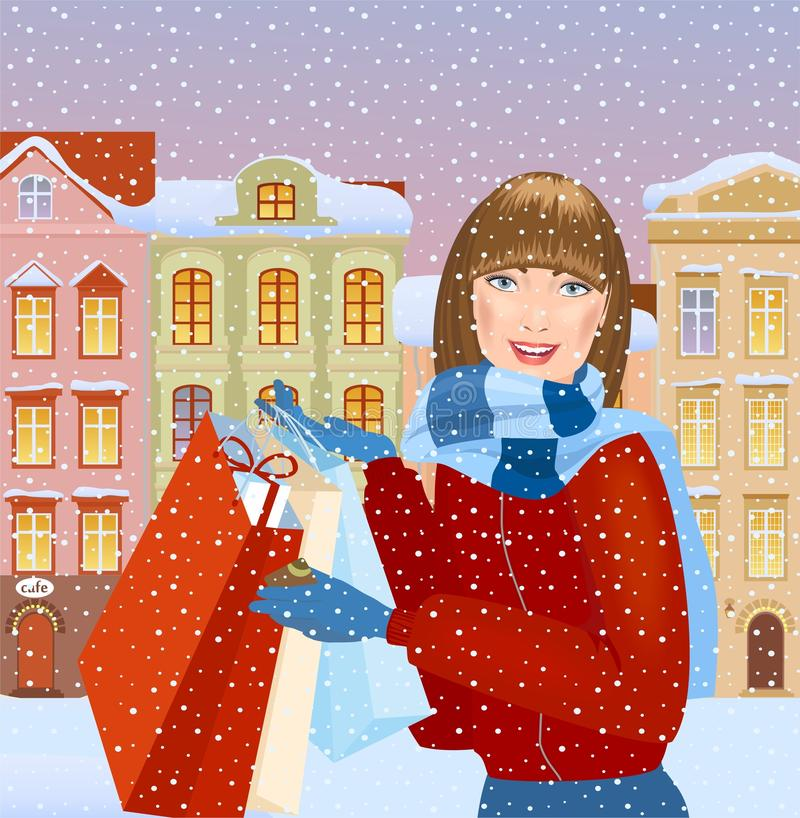 Girl with gift bags vector illustration