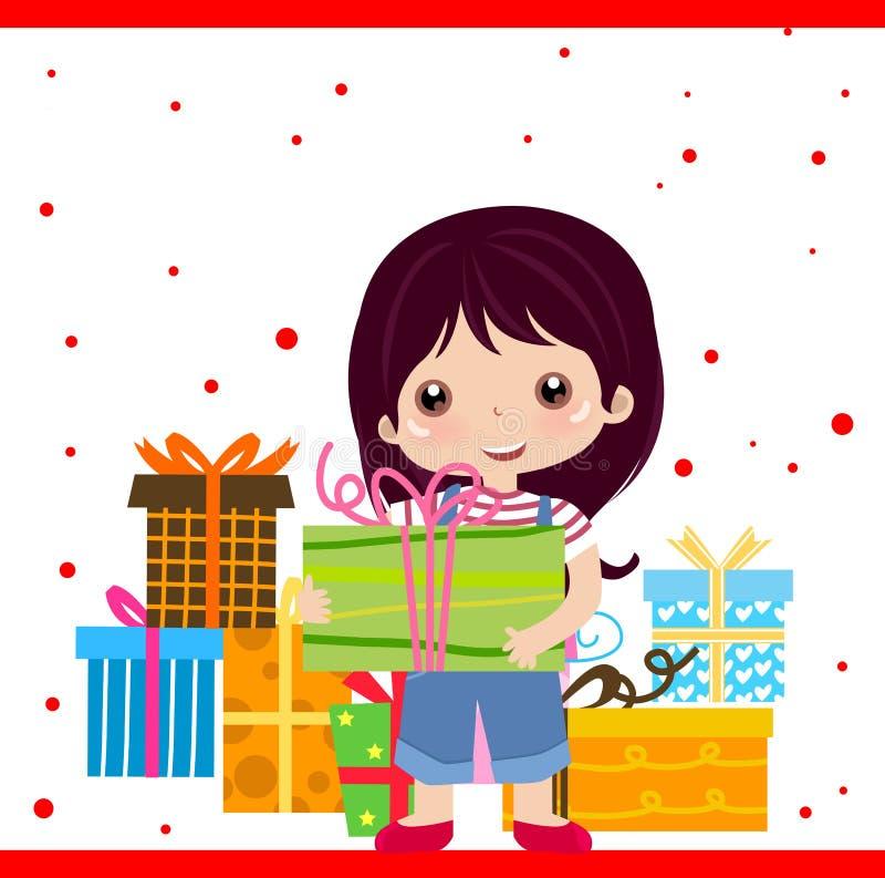 Girl and gift box royalty free illustration