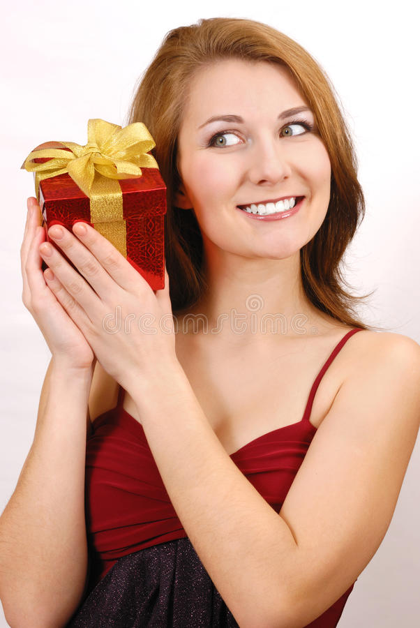 Download Girl with gift box stock image. Image of head, adorable - 18609925