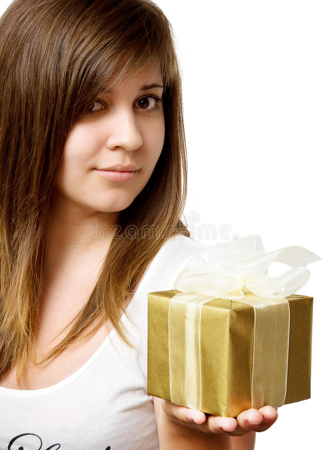 Download Girl with gift box stock photo. Image of holding, buying - 19709392