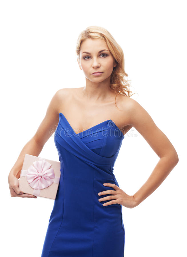 Girl with gift box. On isolated white royalty free stock photo