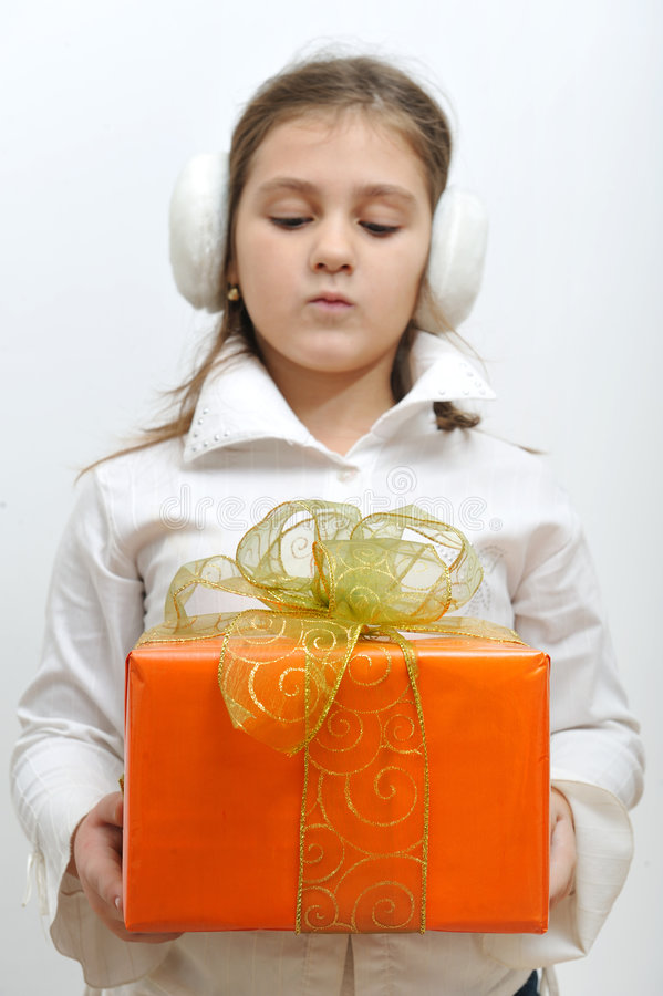 Download Girl With Gift Box Royalty Free Stock Photos - Image: 7406418