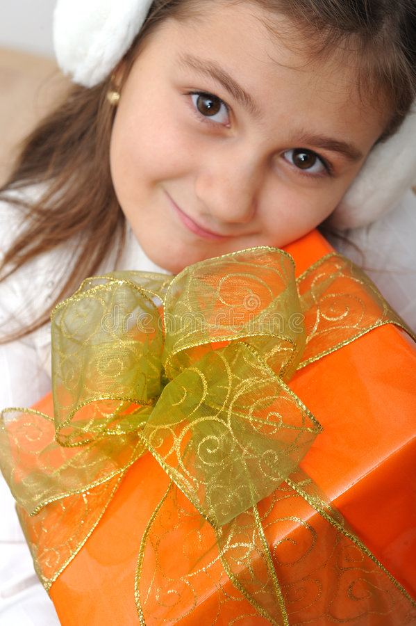Download Girl with gift box stock image. Image of decor, packaging - 7406419