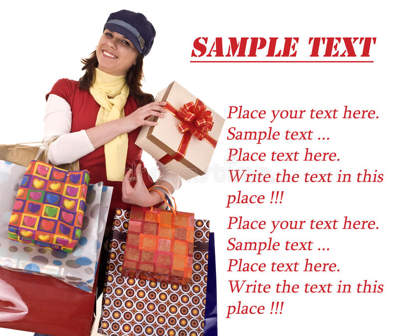 Download Girl With Gift Box And Bag.Template. Royalty Free Stock Images - Image: 10140609