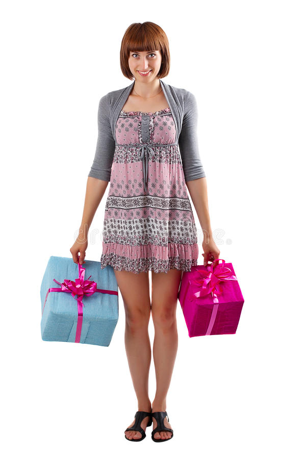 Download Girl with gift boxes stock photo. Image of portrait, ribbon - 21063748