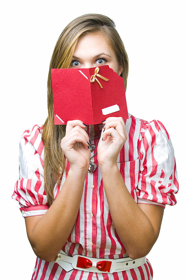 Girl with gift card stock photography