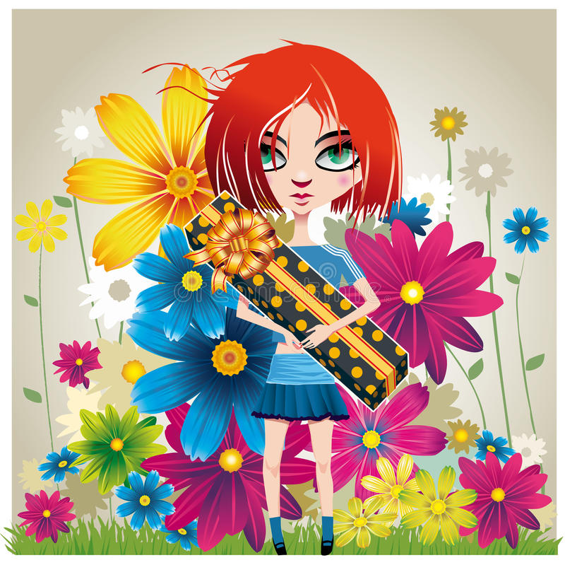 Download Girl_with_a_gift_and_flowers Stock Photos - Image: 27616163