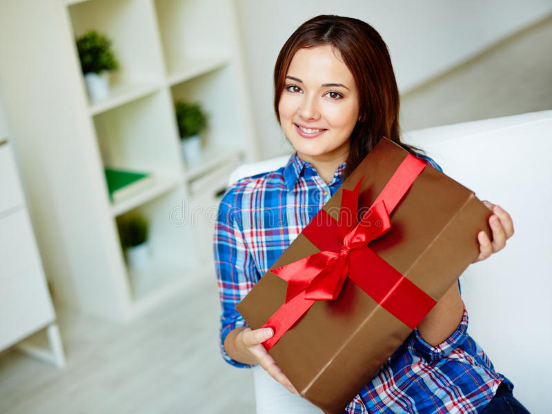 Girl with gift stock photography