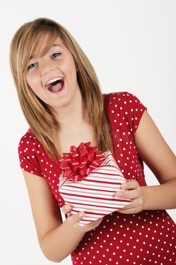 Girl with gift package royalty free stock image