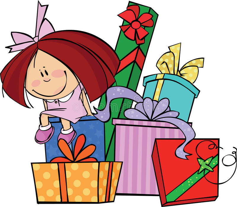 Girl with gifts stock illustration