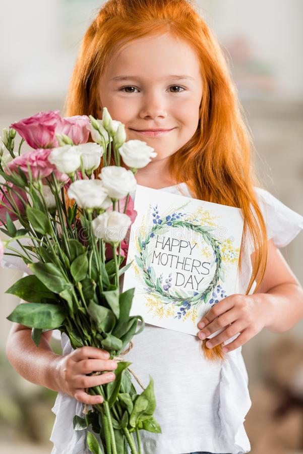 Girl with gifts on mothers day royalty free stock images
