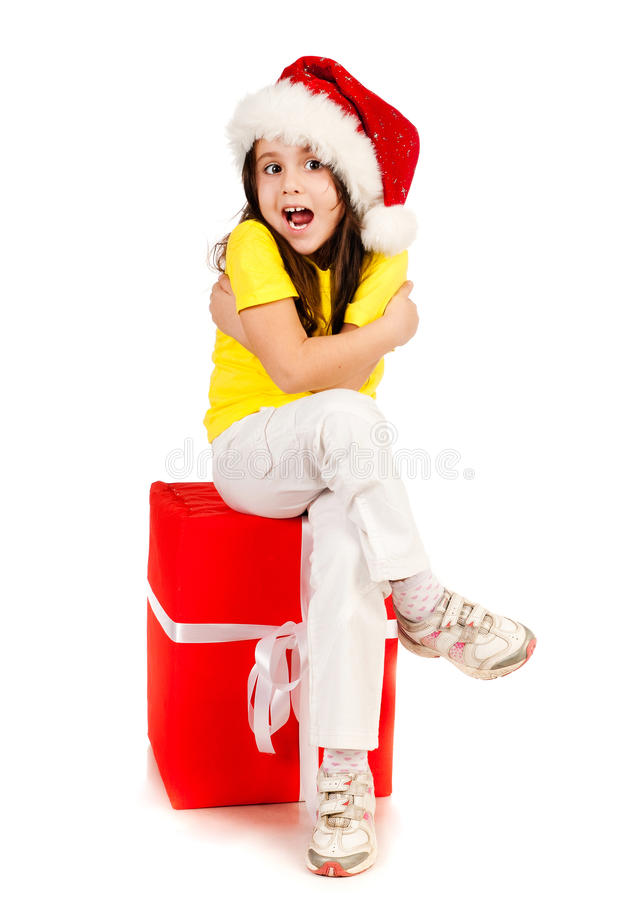 Download Girl With Gifts In Santa Hat Stock Image - Image: 22102083