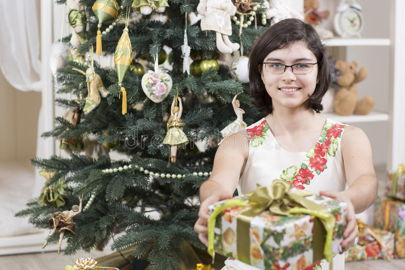 Download Girl gives Christmas gift stock photo. Image of decorations - 35237736