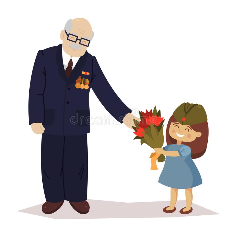 The girl gives flowers to the veteran. May 9. Victory Day. Grandfather and girl, granddaughter. Cartoon vector vector illustration