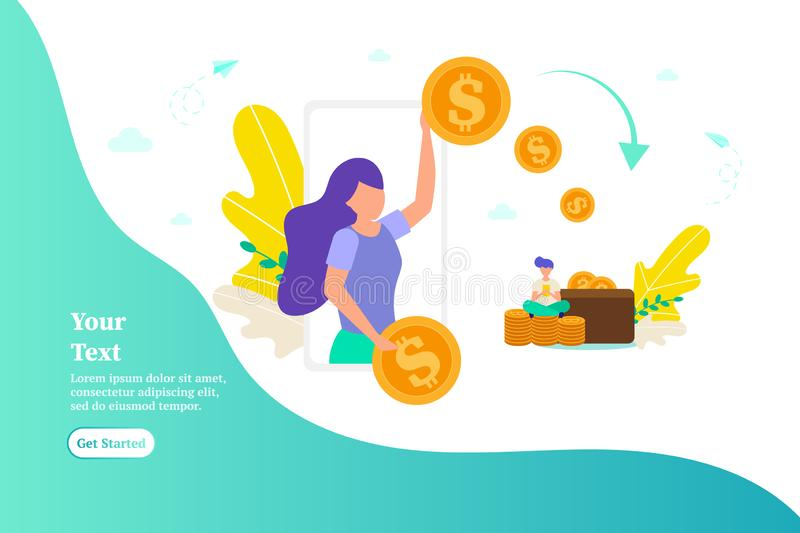Girl gives money, pays for work, concept of paying online, payments, giving money stock photos