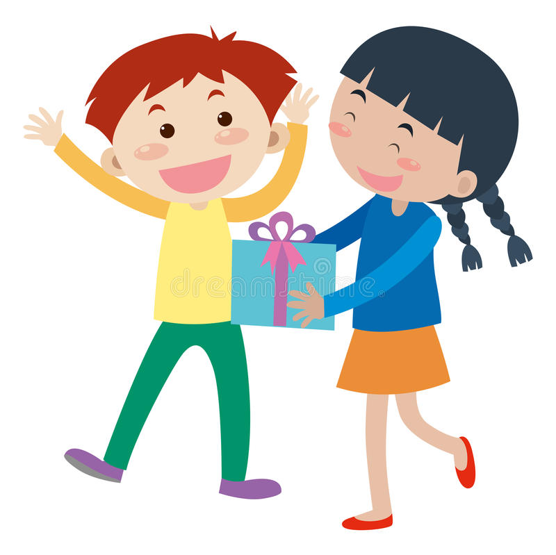 Girl gives present to boy vector illustration
